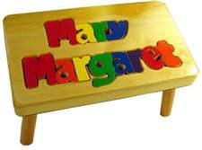 personalized puzzle step stool Natural Double Name