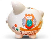 Orange Teal Owl piggy bank