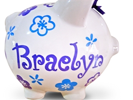 Purple Aqua Flowers piggy bank