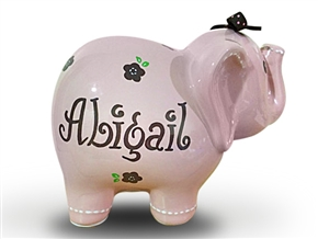 Pink brown flowers elephant piggy bank