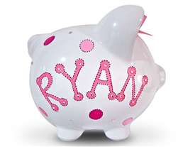 Pink Dot Crystal piggy bank