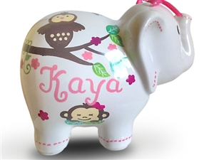 Pink monkey elephant piggy bank