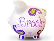 Purple Paisley piggy bank