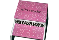 Pink Zebra storage stool