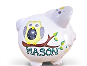 Yellow Blue Owl piggy bank