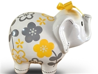 Yellow Grey elephant piggy bank