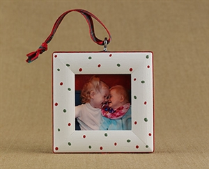 Festive Dots Personalized Photo Ornament