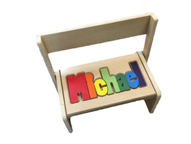 personalized puzzle Maple flip stool long