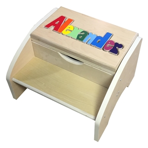 personalized puzzle Maple two step stool