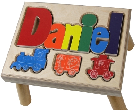 Surprising Personalized Puzzle Step Stool Nat Maple Train Ocoug Best Dining Table And Chair Ideas Images Ocougorg