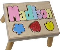 personalized puzzle step stool nat maple flowers