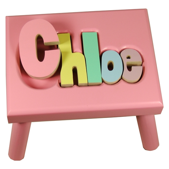 Kids Pink Step Stool Personalized Wooden Stool Tiny
