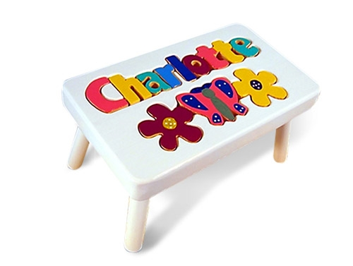 Admirable Personalized Puzzle Step Stool White Butterfly Pdpeps Interior Chair Design Pdpepsorg