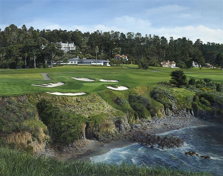 8th hole at Pebble Beach signed limited edtion golf print