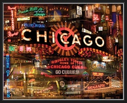 CHICAGO NIGHT BY GIESLA HOELSCHER 11x14
