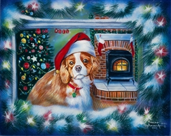 Little Christmas Dreamer - Dog in window