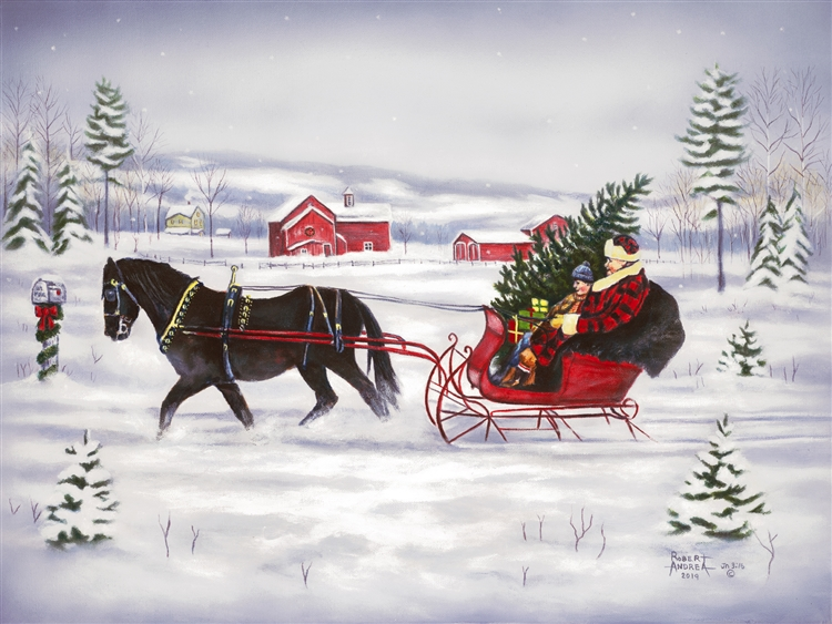 Sleigh bells Ring - One Horse Open Sleigh By Robert Andrea