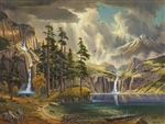 Mountain Waterfalls.  Waterfalls fall from the mountains into a clear blue lake.  A gallery wrapped canvas by Keith Brown