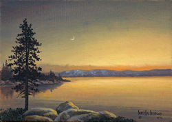 Tahoe Evening.  A Tahoe lake at sunset.  A gallery wrapped canvas by Keith Brown