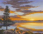 Tahoe Sunset.  A glorious sunset on a Tahoe lake.  A gallery wrapped canvas by Keith Brown