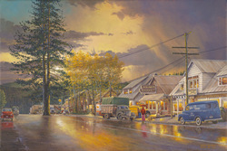 Tahoe City.  An easy walk to the market in this Americana image.  A gallery wrapped canvas by Keith Brown