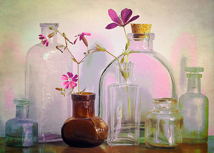 Bottles on the Bureau by Hal Halli
