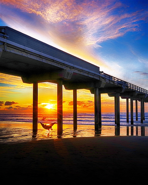 End of the Day - Sunset Pier giclee canvas by Don Schimmel