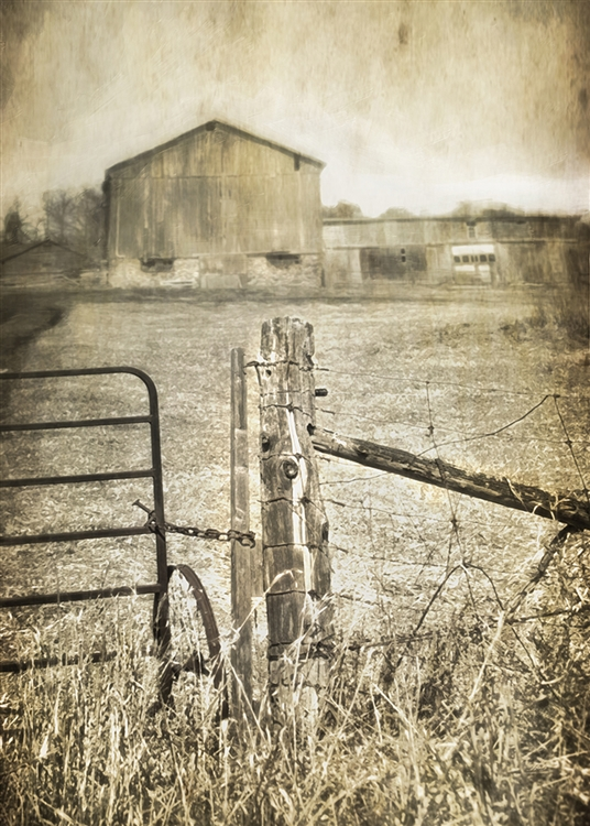Farm Beyond the Fence Big Sky in Sepia Canvas by Hal Halli