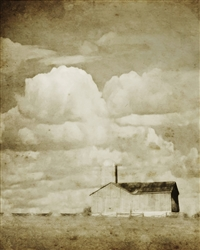 Farm - Big Sky in Sepia Canvas by Hal Halli