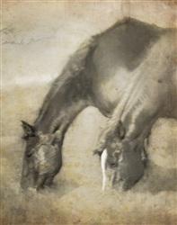 Love is Symmetry Horses in Sepia Canvas by Hal Halli