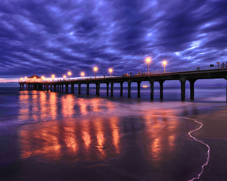 Manhattan Beach Pier Sunset giclee canvas by Don Schimmel