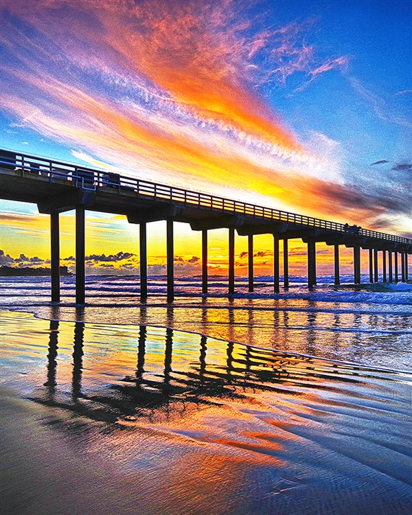 Sea meets Shore - Sunset Pier giclee canvas by Don Schimmel