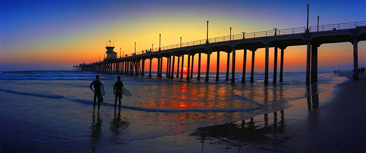 Surf City Panoramic Sunset giclee canvas by Don Schimmel