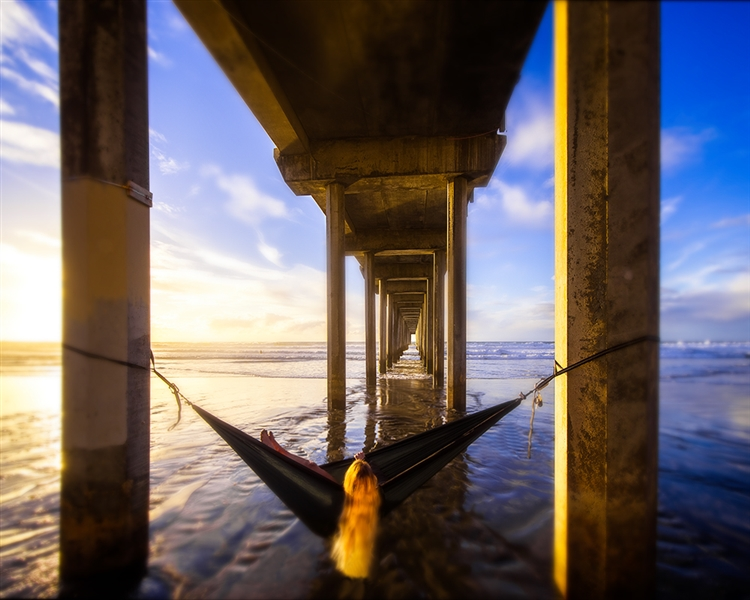 Waiting on Sunset - Beach, Hammock and Pier giclee canvas by Don Schimmel