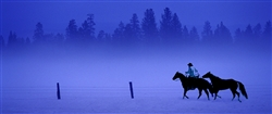 Early Morning Task - Cowboy in Fog giclee canvas by Don Schimmel