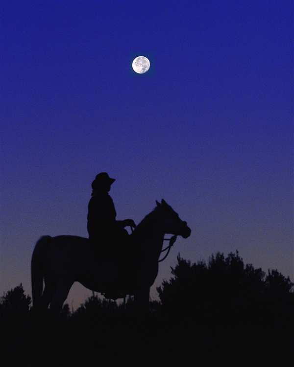 Ridin the Moon - Cowgirl out for a Ride in the Moonlight giclee canvas by Don Schimmel