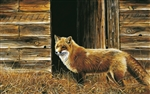 RED FOX & GRAINERY BY DES McCAFFREY 12x19 Ltd. Edition Paper Giclee