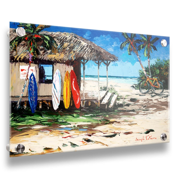 Surf Hut 18x24 tropical surf image on acrylic