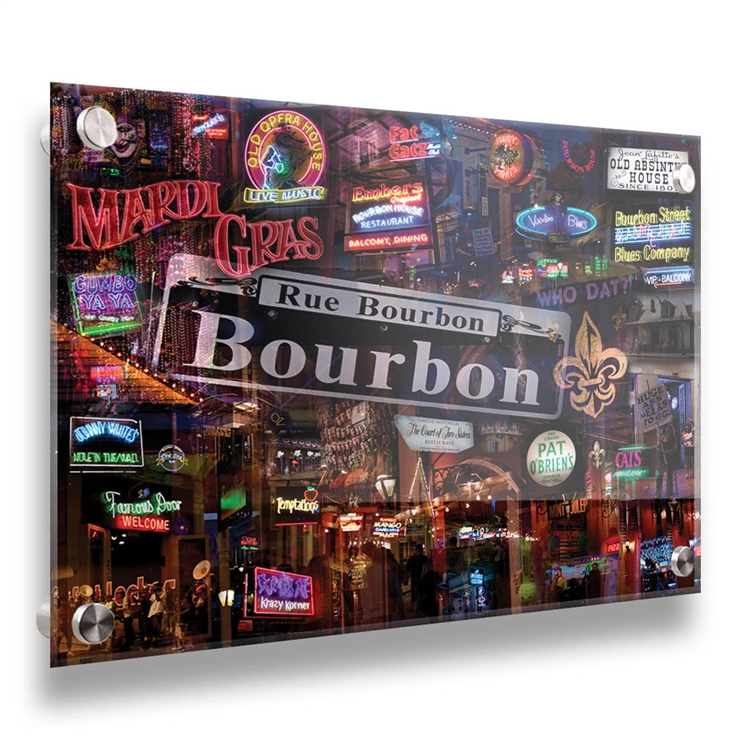 Bourbon Street 18x24  contemporary photo collage on acrylic