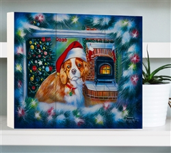 Little Christmas Dreamer- Puppy in window wood decor By Robert Andrea