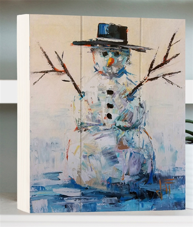 Snowman image by Jeff Boutin - Box board wood decor