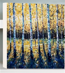 Strike Gold  - Birch Trees by Jeff Boutin - Box board wood decor