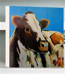 Cow image by Jeff Boutin - Box board wood decor