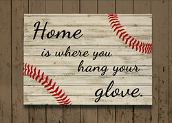 Baseball Pallet sign - Home is where you hang your glove Decorative Wood wall plaque