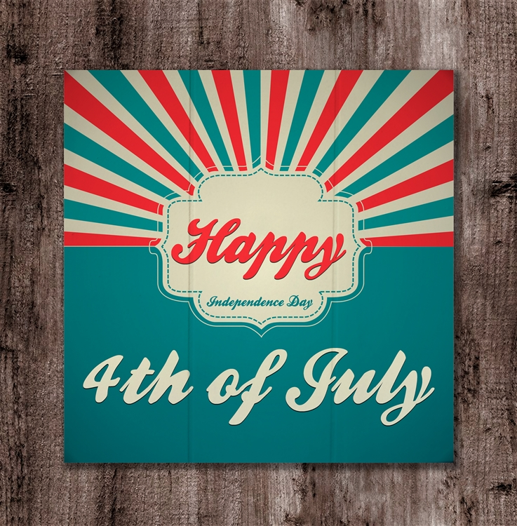 Happy 4th of July Sunburst Boxed Board
