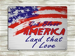 """God Bless America, Land That I Love"" metal sign 15 1/2x11 1/2"