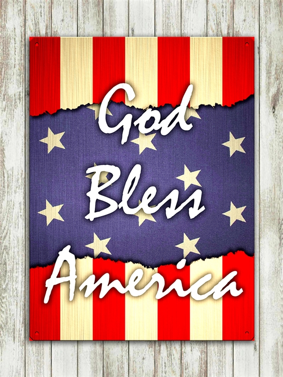 """God Bless America"" metal sign 15 1/2x11 1/2"