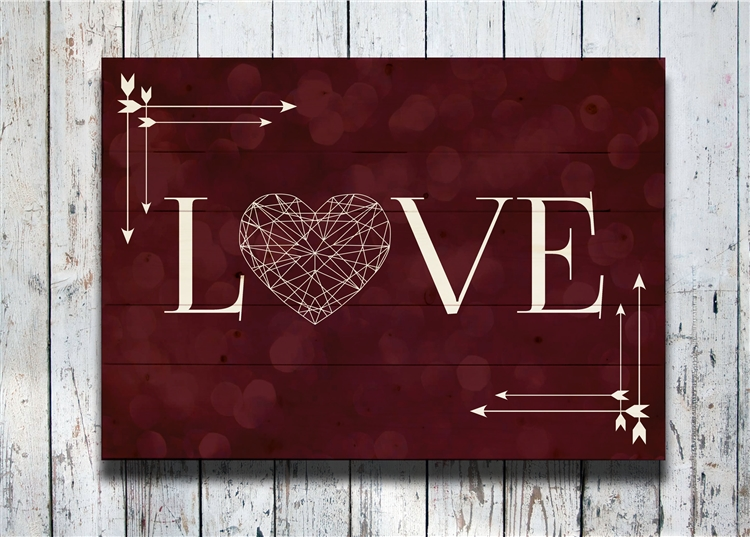 Love Sign -Bokeh love pallet- scene Decorative Wood wall plaque