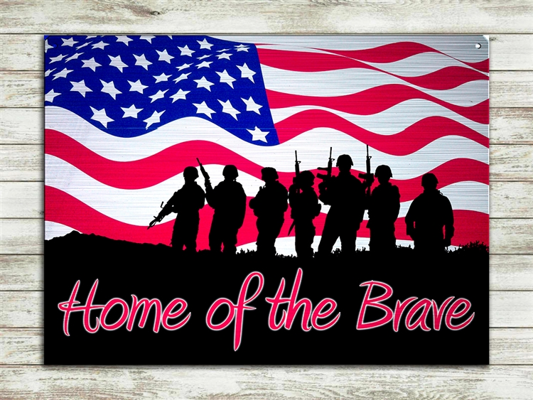 """Home of the Brave"" metal sign 15 1/2x11 1/2"