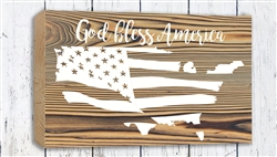 """God Bless America"" Wood Plank Size: 5 1/2"" t x 10"" w x 3/4"" d"
